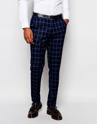 Vito Check Suit Trousers In Slim Fit Blue