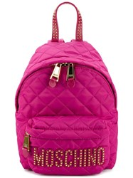 Moschino Quilted Mini Backpack Pink Purple