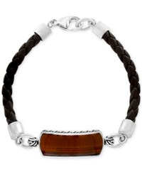 Effy Men's Tiger Eye 29 X 10Mm Braided Leather Bracelet In Sterling Silver Brown