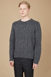 Calvin Klein Animal Jacquard Crewneck Sweater Black