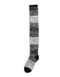Hue Ribbed Ombre Over The Knee Sock Black