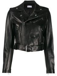 Red Valentino Cropped Biker Jacket Black