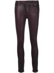 Paige Hoxton Cropped Trousers Cotton Polyester Spandex Elastane Rayon Pink Purple