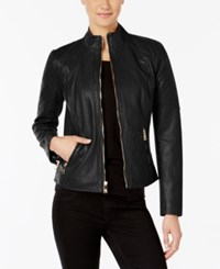 Guess Stand Collar Faux Leather Jacket Black