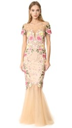 Marchesa Notte Floral Embroidery Gown Nude