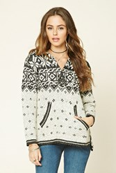 Forever 21 Abstract Print Knit Hoodie Cream Black