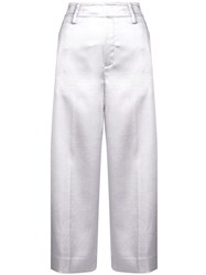 Vince Wide Leg Cropped Trousers Silver