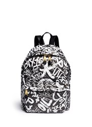 Moschino Graffiti Print Quilted Leather Backpack Multi Colour