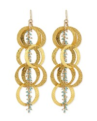 Beaded 18K Yellow Gold Plated Linked Circle Drop Earrings Devon Leigh Turquoise