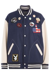 Marc Jacobs Wool Blend Bomber Jacket With Patches Blue