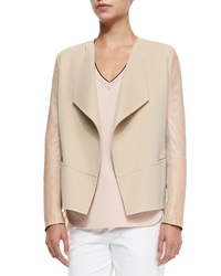 Vince Leather Sleeve Draped Wool Jacket Cashew