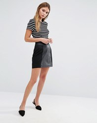 Oasis Suedette And Faux Leather Patched Mini Black
