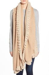 Women's Nordstrom Ruffle Wrap Brown Tan Camel Heather