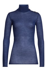 Balmain Wool Turtleneck Pullover With Embossed Buttons Blue