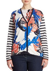 Basler Plus Size Coral Printed Knit Cardigan Blue Multicolor