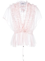Givenchy Ruffle Placket Semi Sheer Blouse Pink Purple