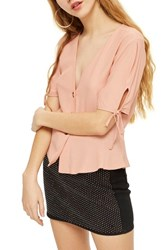 Topshop Floral Tie Cuff Blouse Pink