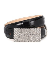 Alessandra Rich Crystal Leather Belt Black