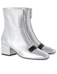 Dorateymur Silver Leather Delta Ankle Boots