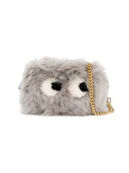 Anya Hindmarch 'Eyes' Shearling Cross Body Bag Women Leather Sheep Skin Shearling One Size Grey