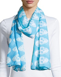 Raj Skull Cotton Scarf Light Neon Blue