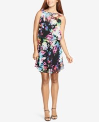 American Living Floral Print Georgette Dress Black Fuchsia
