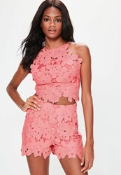 Missguided Pink Floral Lace High Waisted Shorts