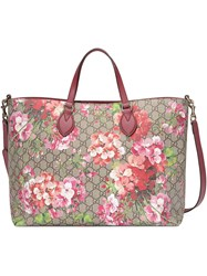 Gucci Soft Gg Blooms Tote Pink Purple