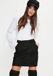 Missguided Black Bonded Faux Suede Patch Pocket Mini Skirt