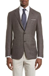 Canali Men's Kei Classic Fit Hopsack Wool Blazer Brown