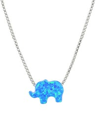Lord And Taylor Blue Opal Sterling Silver Elephant Pendant Necklace
