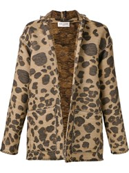 Saint Laurent Leopard Print Hooded Cardigan Brown