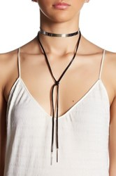 Cara Accessories Polished Band Faux Leather Tie Choker Necklace White