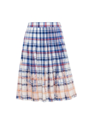 Sea Bleached Plaid Pleated Skirt