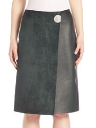 Calvin Klein Helga Leather And Suede Wrap Skirt Forest