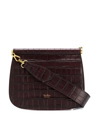 Max Mara Croc Embossed Shoulder Bag Brown