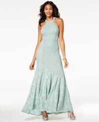 B. Darlin B Juniors' Glitter Lace Strap Detailed Gown Created For Macy's Sage