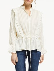 And Or Cordelia Frill Peplum Blouse Natural