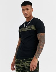 Good For Nothing Muscle Fit T Shirt In Black With Camo Panel