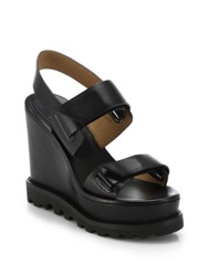 Marc By Marc Jacobs Leather Double Strap Wedge Sandals Black