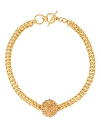 Kenneth Jay Lane Golden Disco Ball Necklace Blue