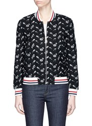 Thom Browne Floral Embroidered Varsity Bomber Jacket Black