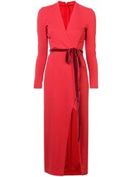 Adam By Adam Lippes Belted Fitted Midi Dress Red
