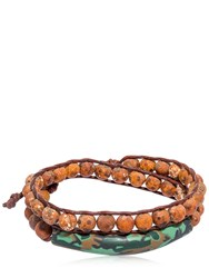 Colana Tiger Eye And Clay Effect Wrap Bracelet Brown Camo