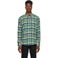Naked And Famous Denim Green Navy Rustic Flannel Shirt