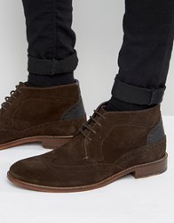 Ted Baker Pericop 2 Brogue Boots In Brown Suede Brown