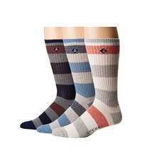Sperry Casual Rib Crews 3 Pack Gray Heather Assorted Men's Crew Cut Socks Shoes Multi