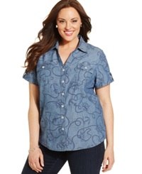 Karen Scott Plus Size Nautical Print Shirt