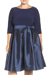 Adrianna Papell Plus Size Women's Mixed Media Fit And Flare Dress Navy