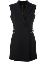 Balmain Sleeveless Wrap Front Dress Black